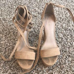 ASOS tan lace up heels